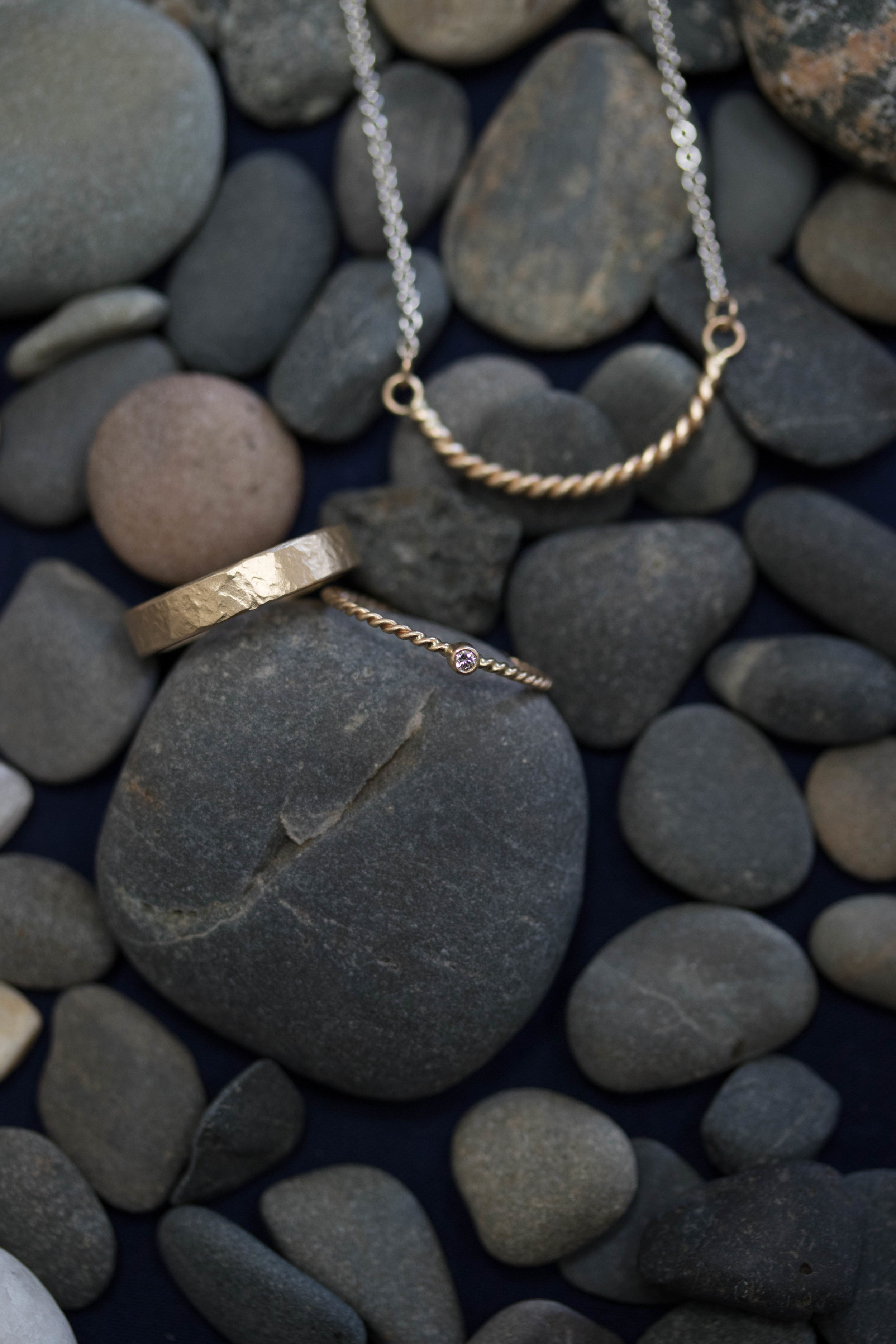 diamond rope and granite rings with the rope cloudbreak necklace