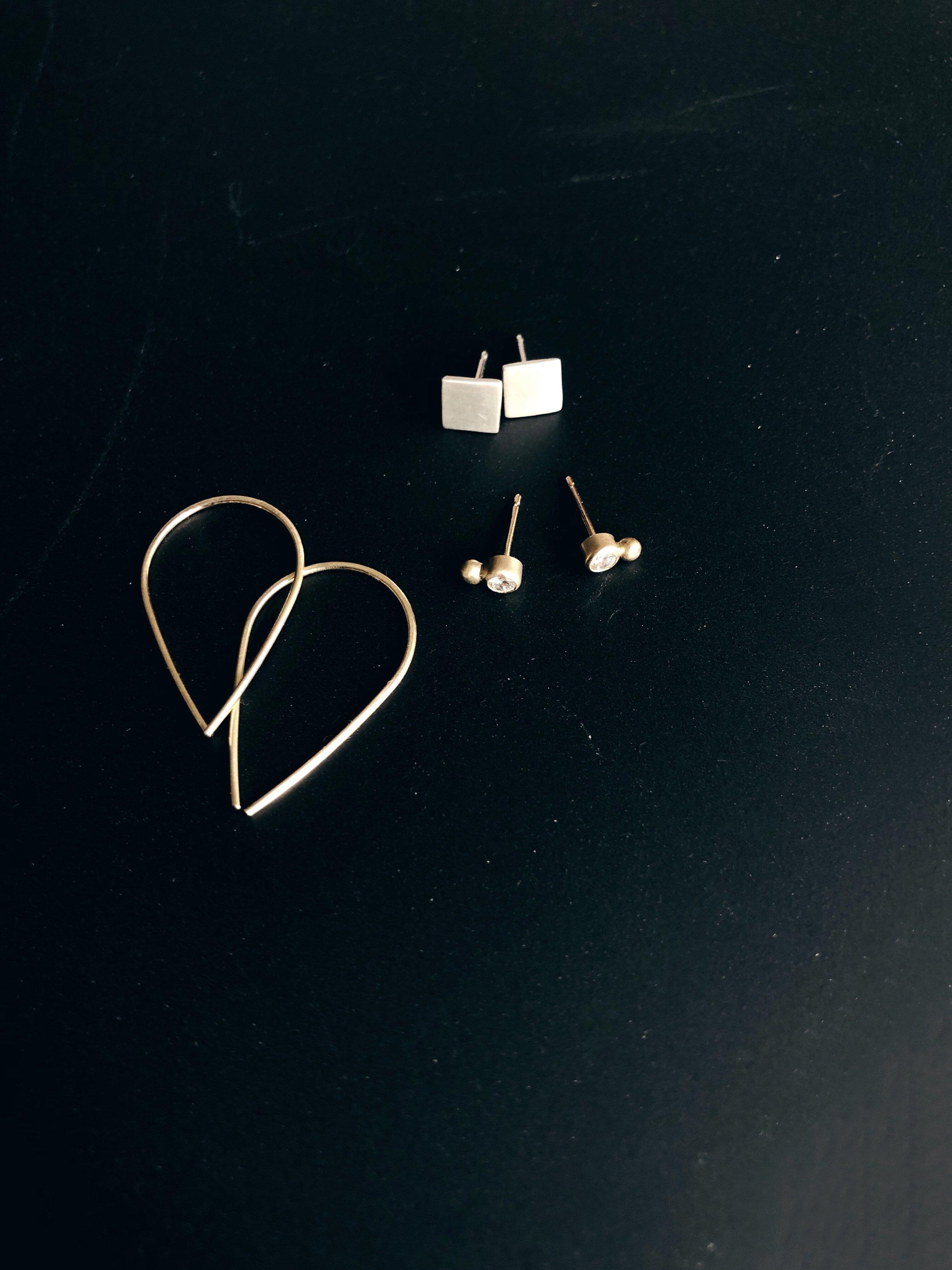 silver and gold earrings - rebecca mir grady