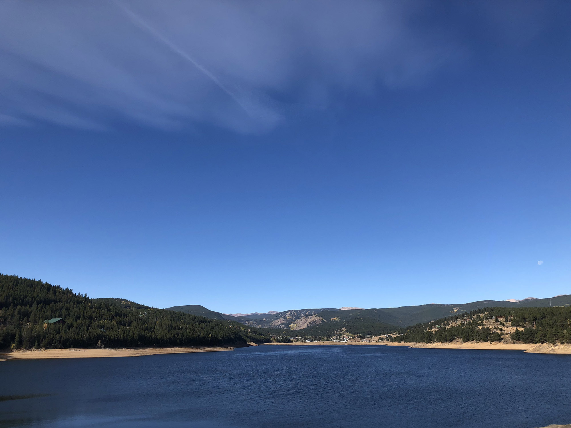 Nederland, Colorado from across the reservoir