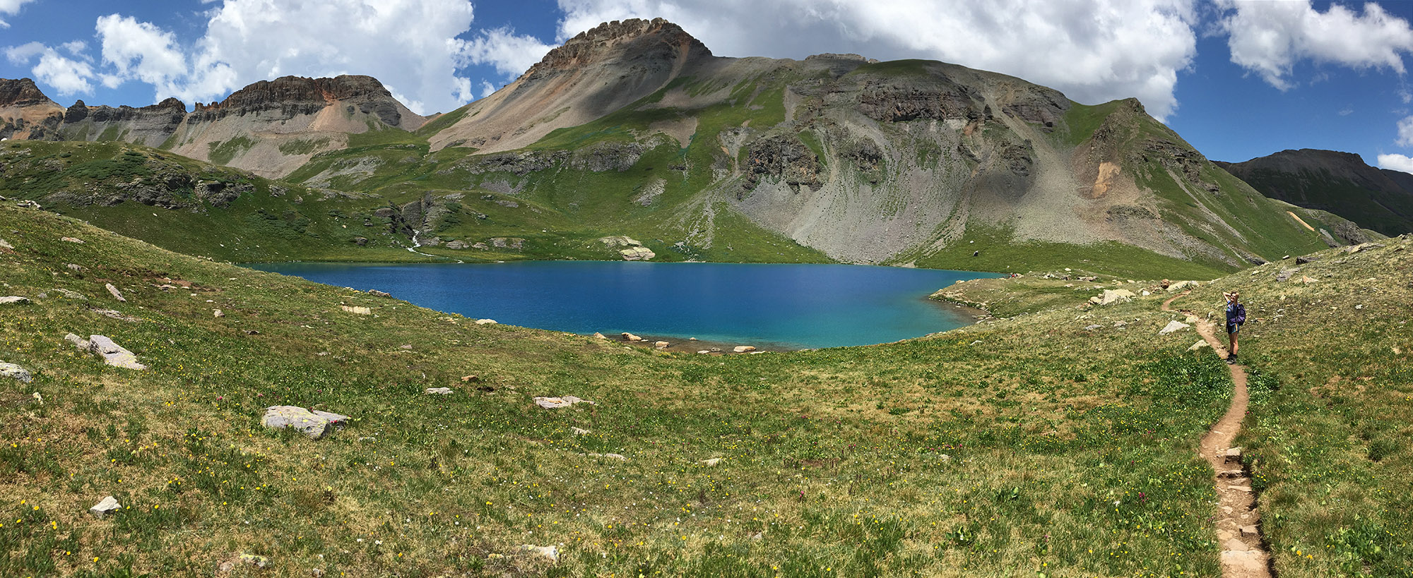 July: Clear skies and all the wildflowers at  Ice Lake  in Colorado