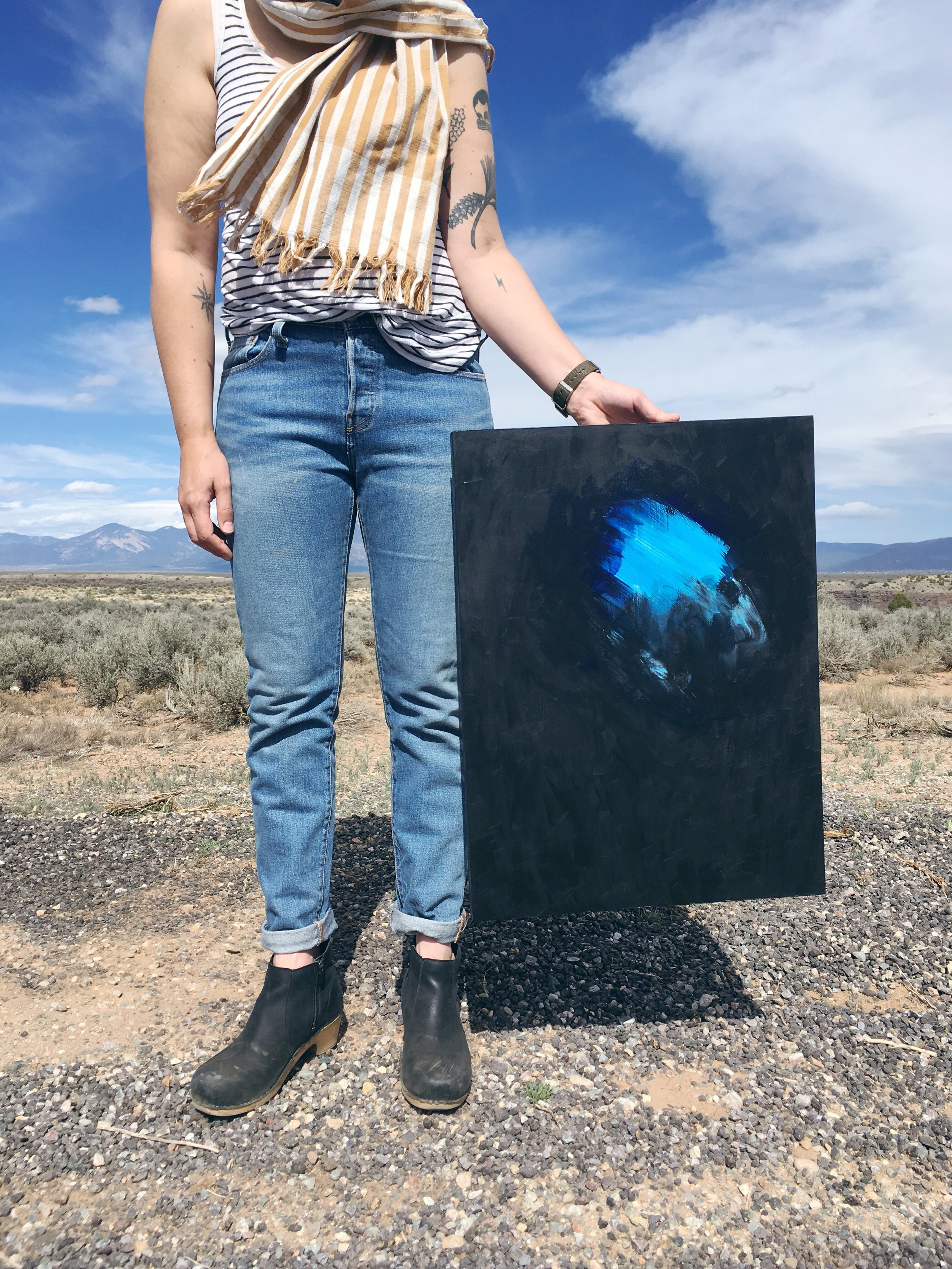 April: Taking the high road to Taos to deliver a painting for a show (and staying overnight to find some good hot springs!)