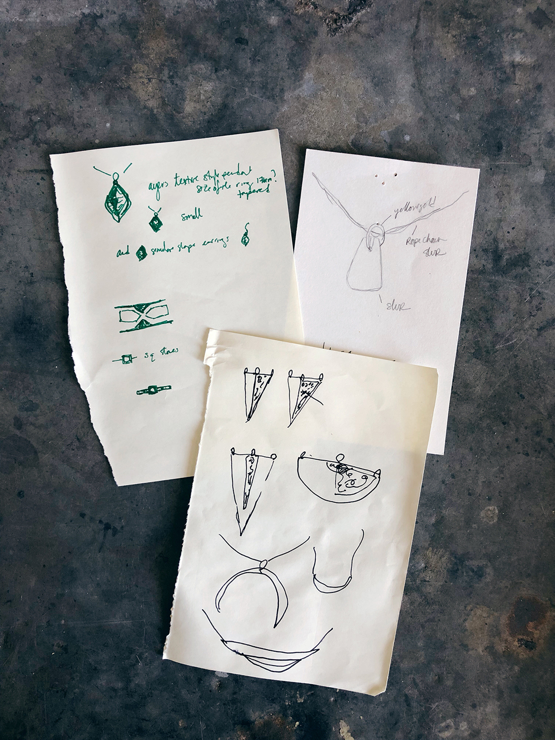 old jewelry sketches circa 2014-2015
