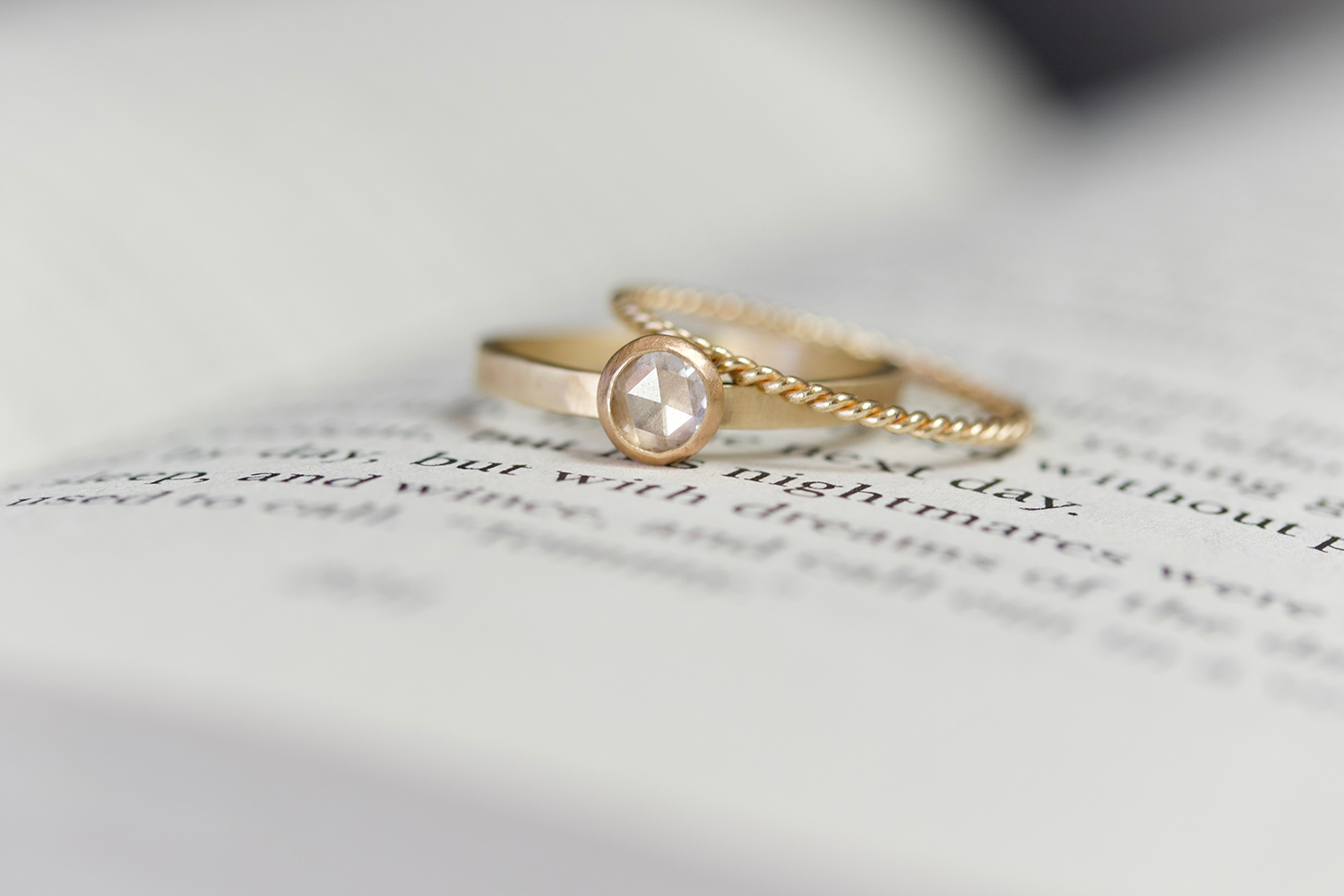 the  Katherine Rosecut Diamond  and  thin Rope  rings in 14k yellow gold.
