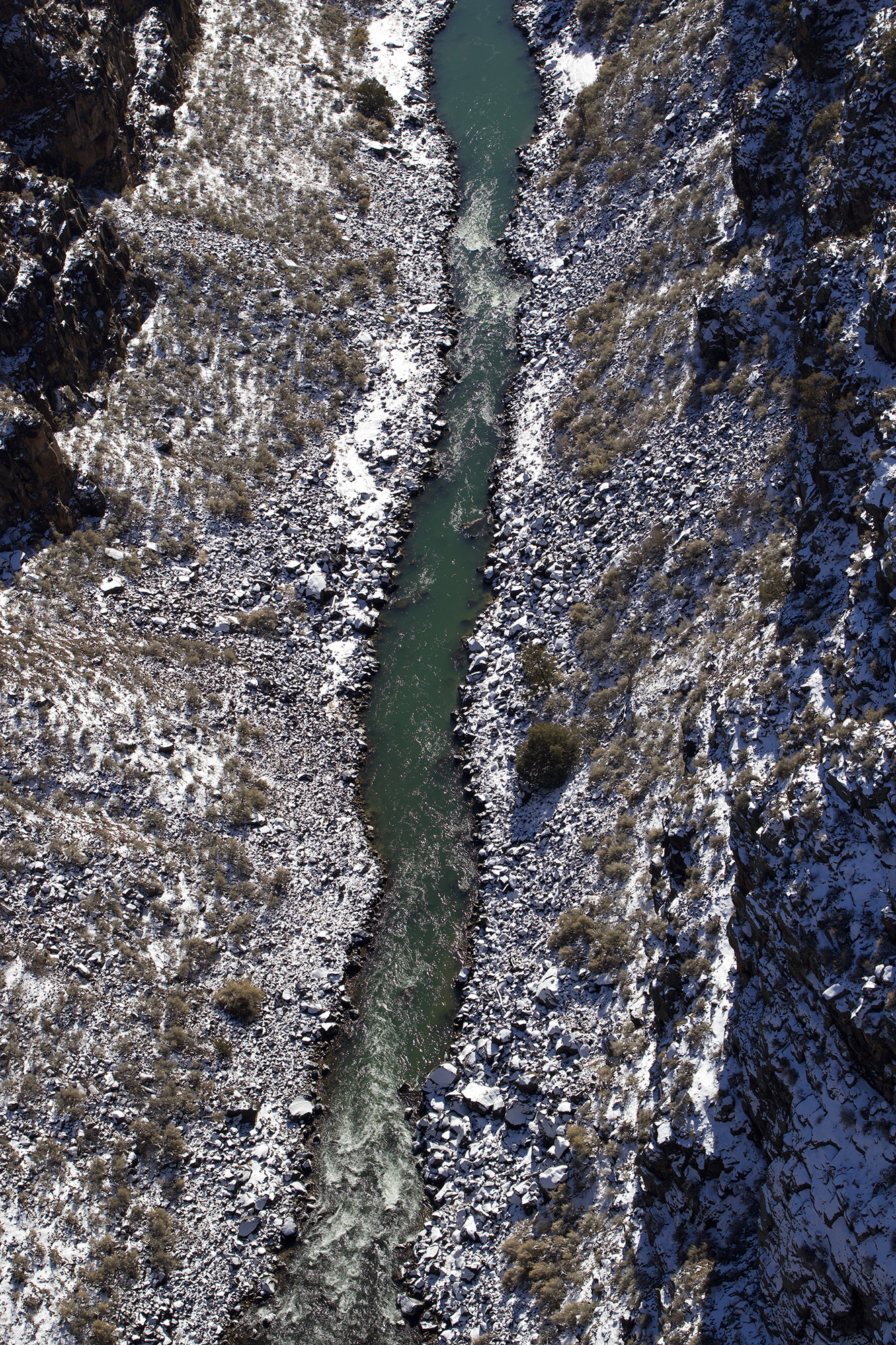 the view from the Rio Gorge Bridge near Taos, after a recent snowstorm