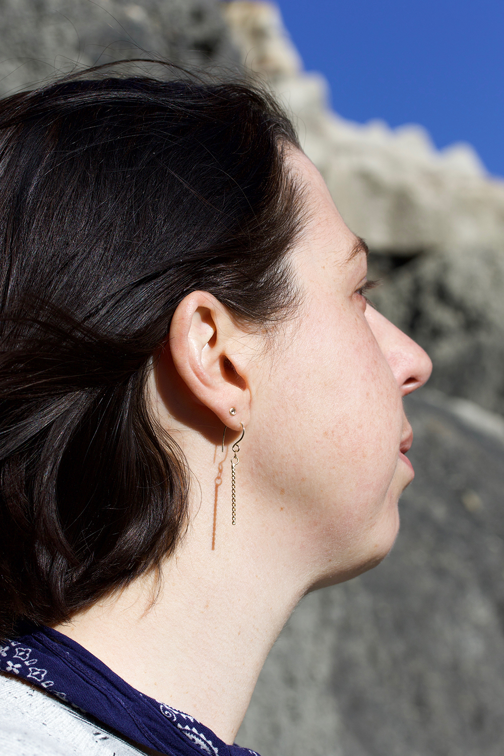 yours truly, wearing the  Rope Drop  earrings + r osecut diamond studs  in the Bisti De Na Zin wilderness