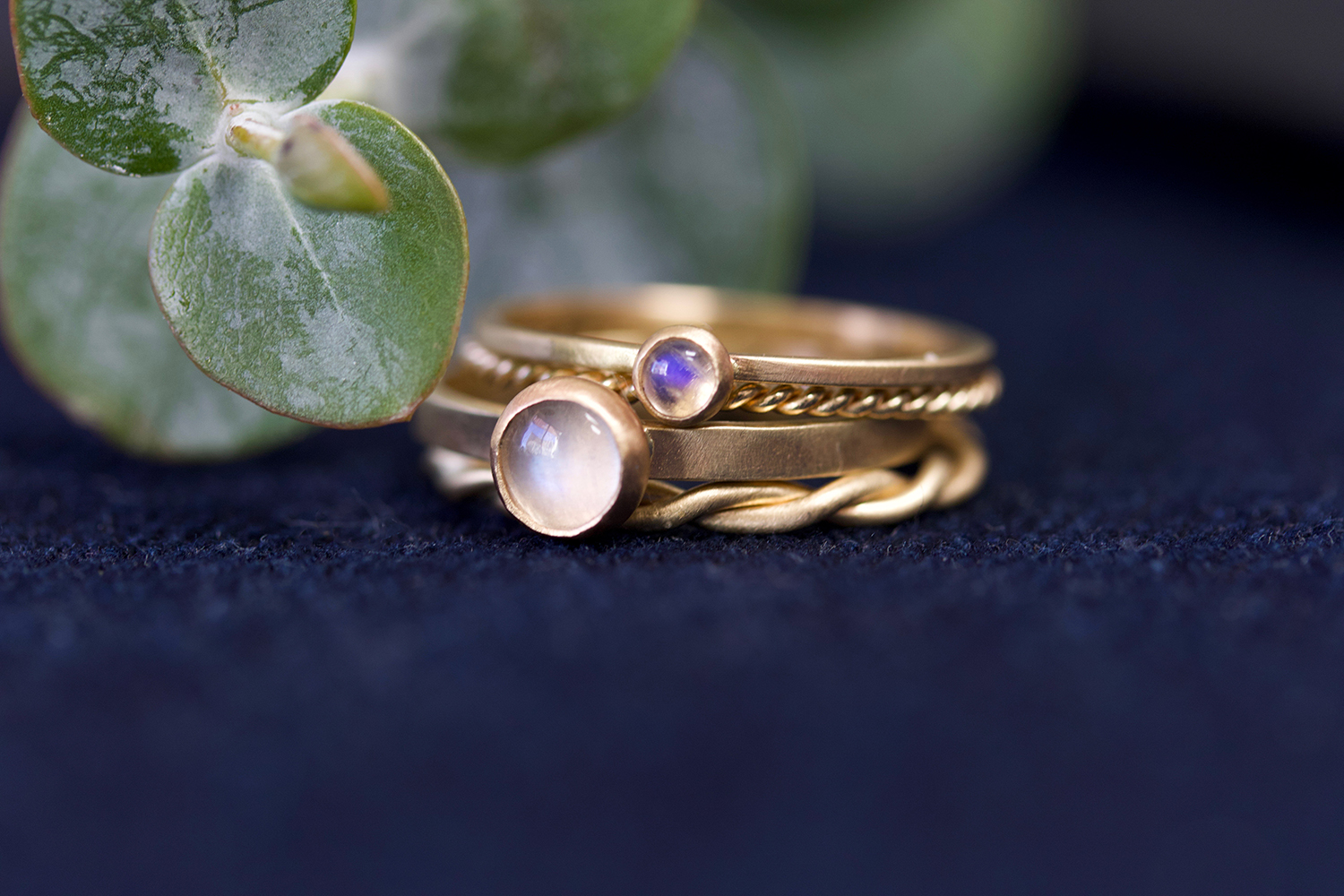 the  Moonstone Katherine  ring, along with the  Moonstone Terence  and plain  Rope  bands.