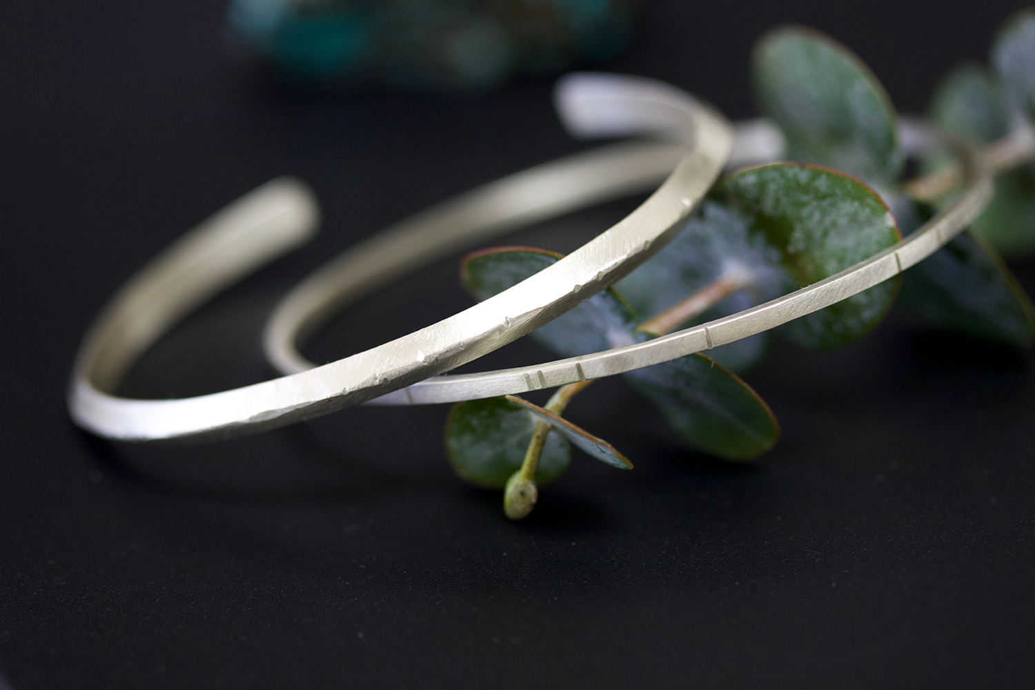 breakwater bangle and 4mm ridge cuff in sterling silver
