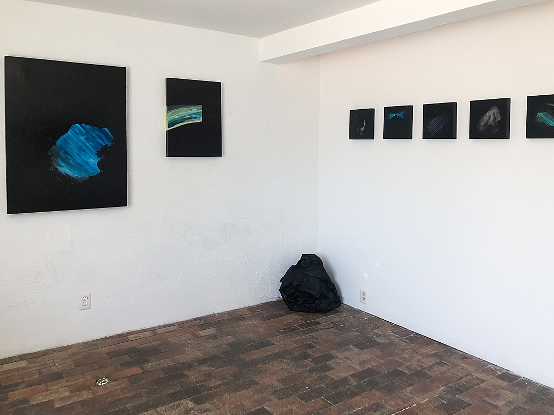 Exhibition view of my paintings and sculpture at Show Pony Gallery.