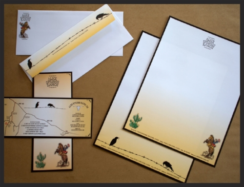 Identity package for Alice Pagliari, and her Alice Springs Ranch, New Cuyama, CA. Complete with new logos, business card, letterhead, envelope and notecard which doubles as a directions card.