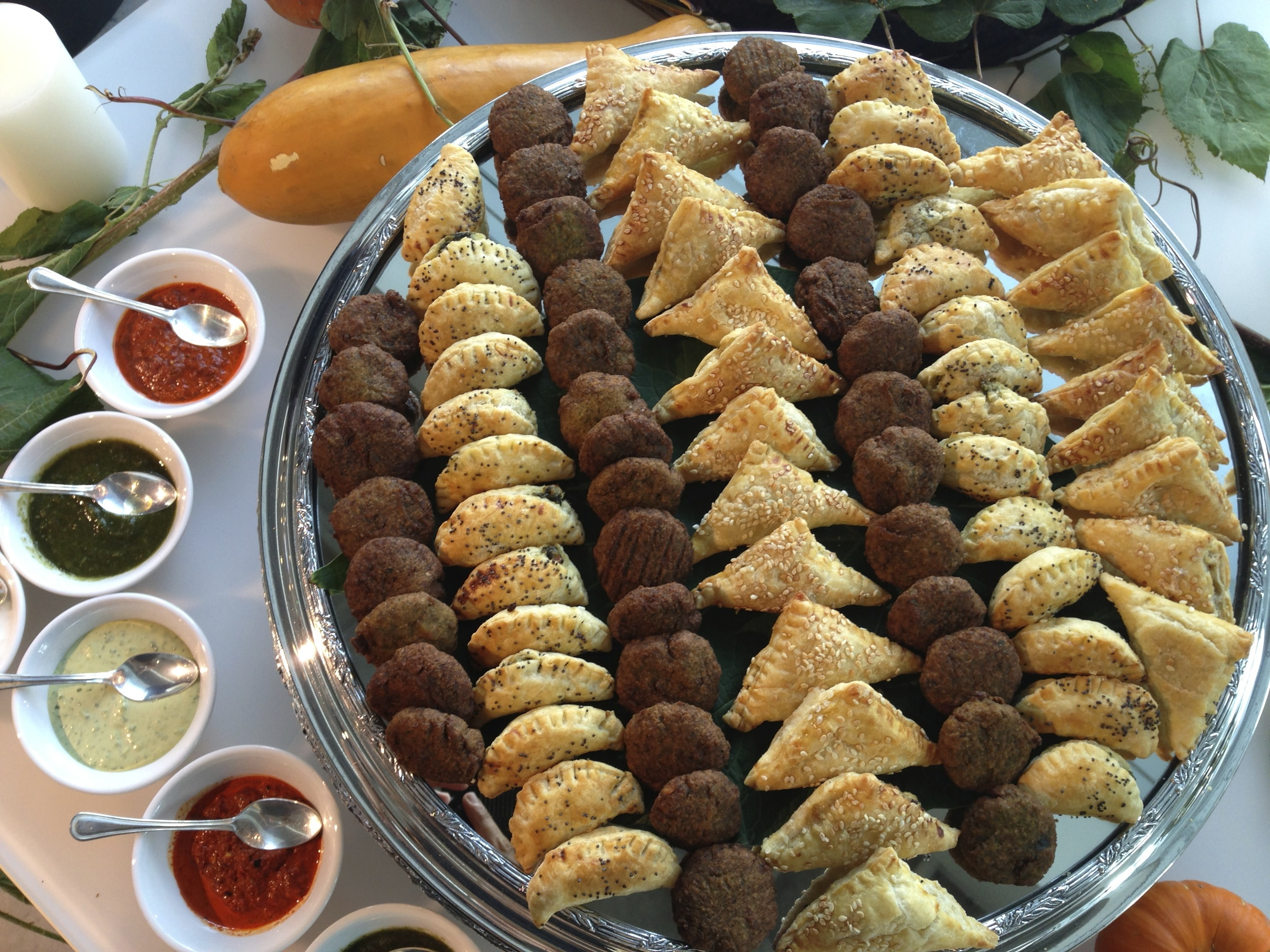 Falafel and Burekas with assorted dips
