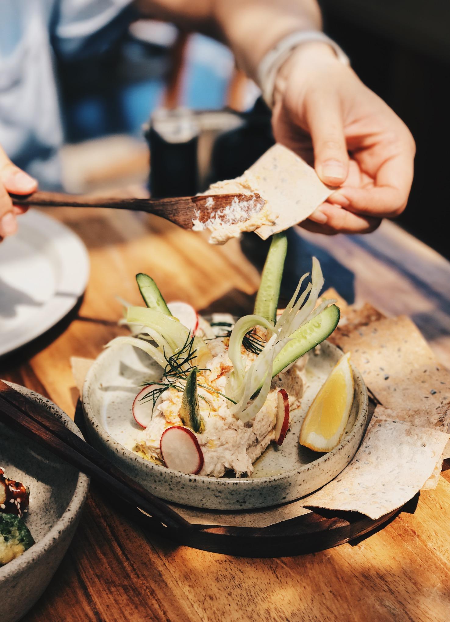 Fish Dip - Smoked mahi-mahi, fennel, radish, seed crackers