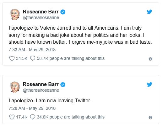 Roseanne Barr's Apology for Valerie Jarrett tweet.