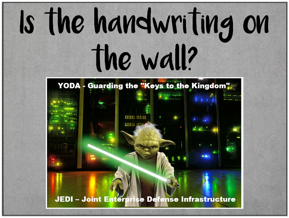 Am I Next? Handwriting on the Wall -- DOD OUTSOURCING IT DATA STORAGE TO CLOUD PROVIDER
