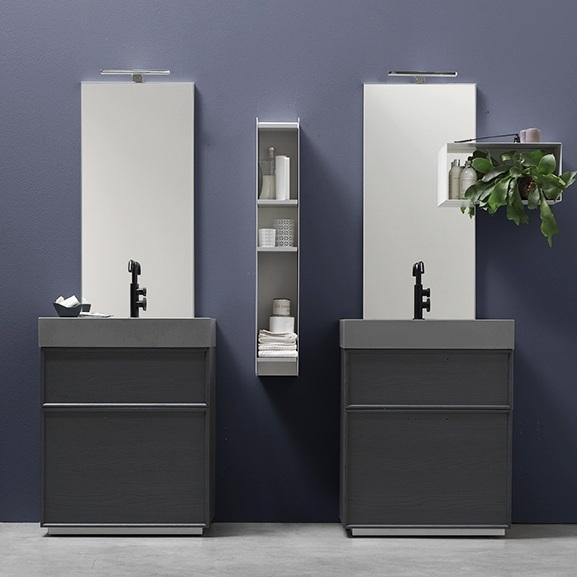 Monoblocchi di design - Oltre alle soluzioni sospese, l'ampia modularità di Vanity consente di creare un bagno moderno più contenuto nelle dimensioni, ma di grande impatto, come le basi a terra con due cassetti.