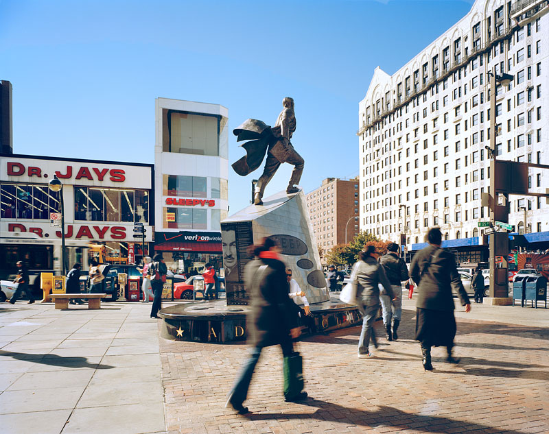 2.  Monument of Adam Clayton Powell Jr. facing former Theresa Hotel (a), 2008