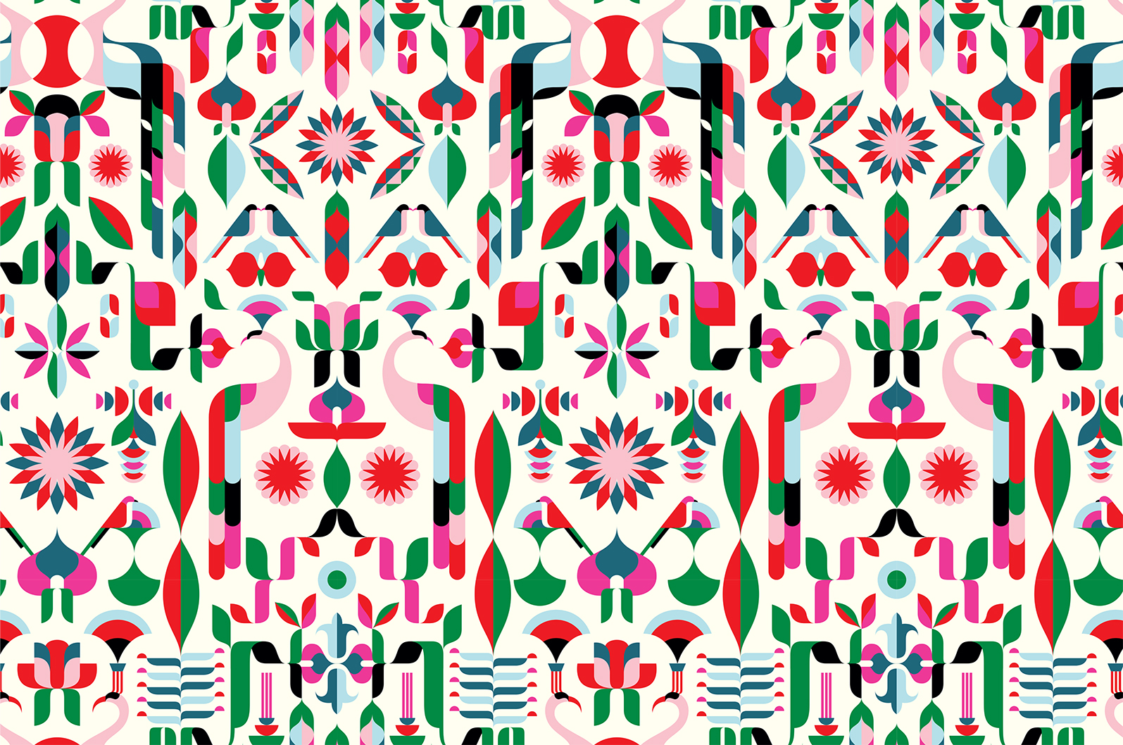 Malika Favre's Peacock Flower pattern is a bold, geometric interpretation of a floral theme. Malika took the form of a peacock as the basis for the colourful abstract pattern, inspired, she tells us, by the peacocks wandering in the grounds of the hotel she stayed at on a recent trip to the French Riviera.