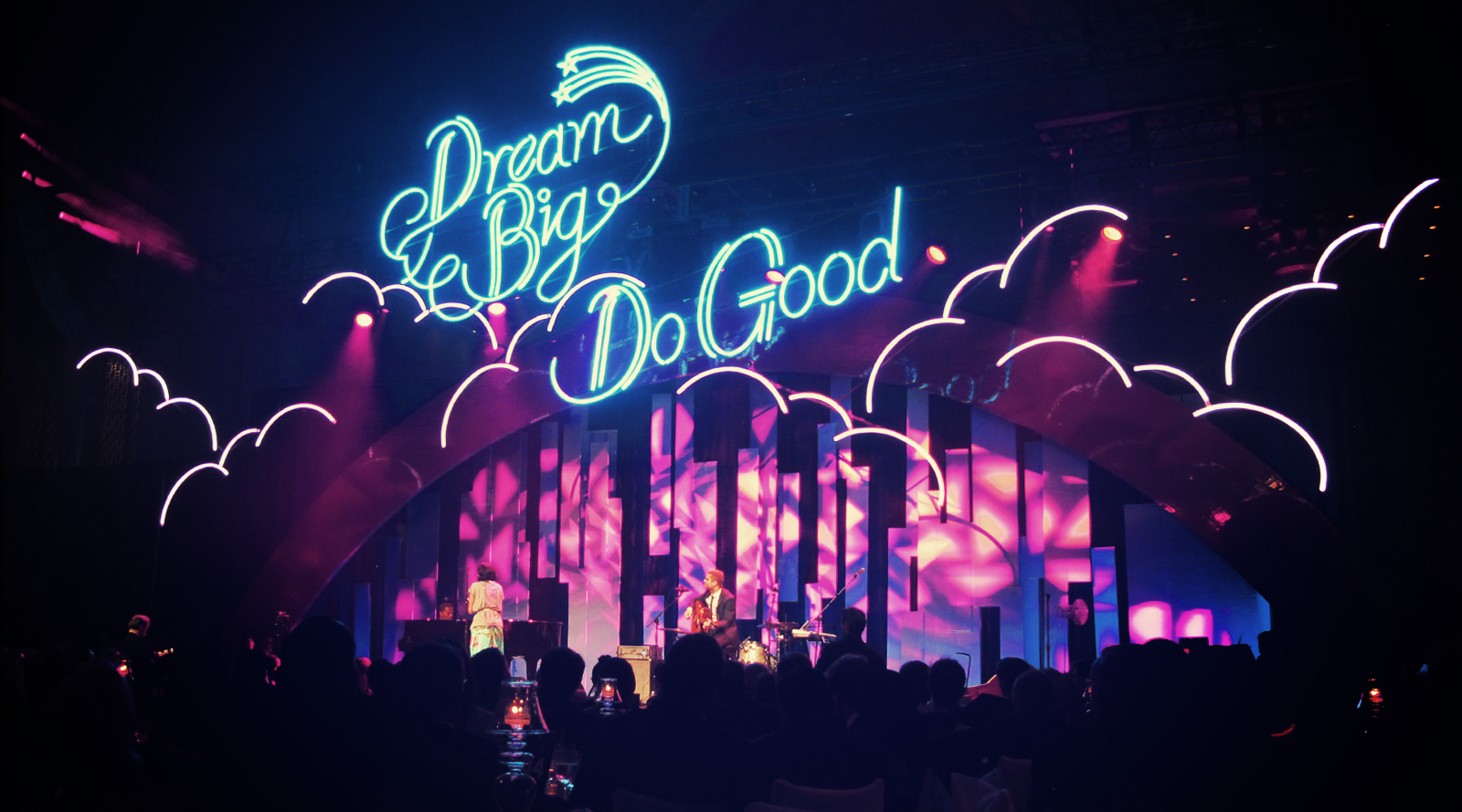 Andreas' illustrated neon lettering was made in to real neon lights specially for the DKMS Delete Blood Cancer charity Gala in New York.