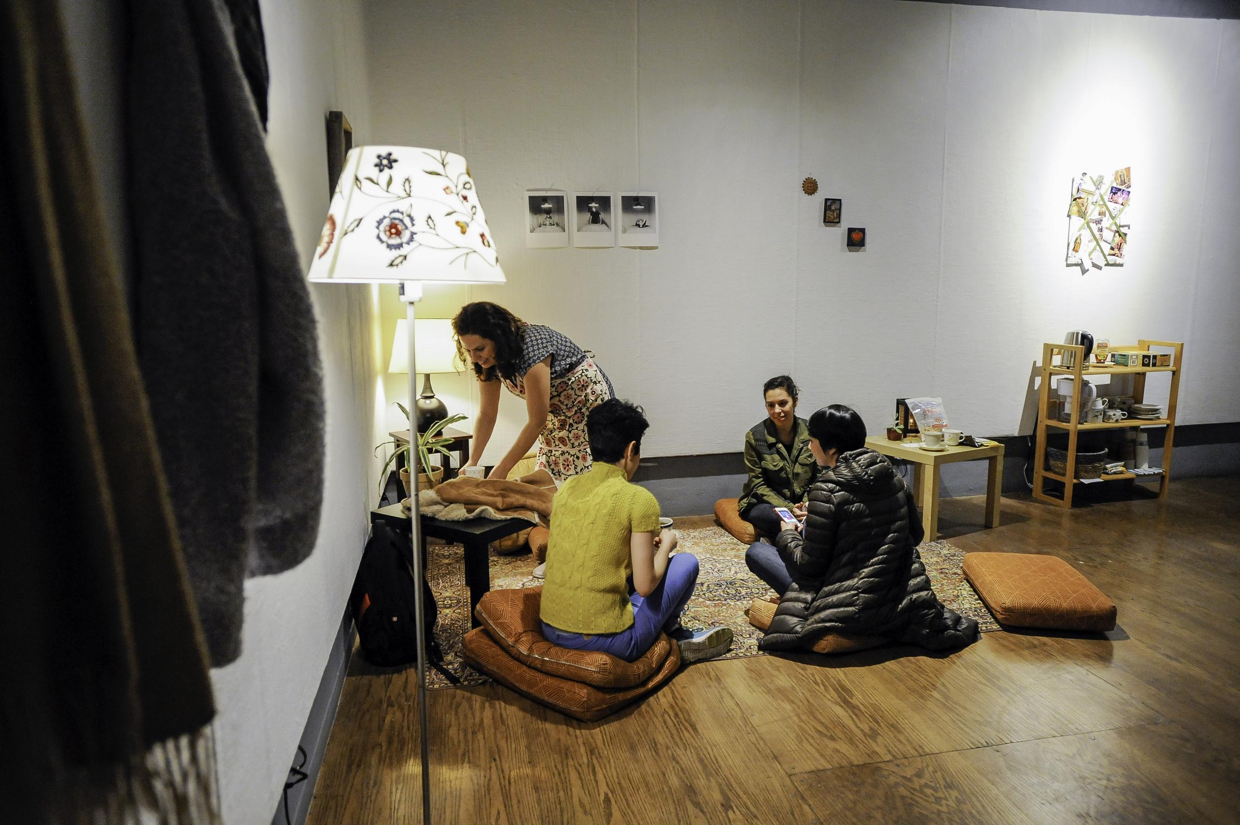 Gathering for tea in Carmina's Living Room