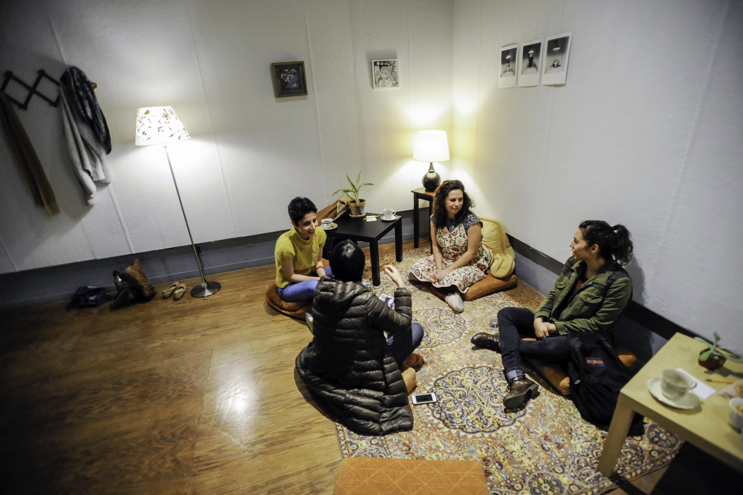 Gathering for Tea, Carmina's Living Room