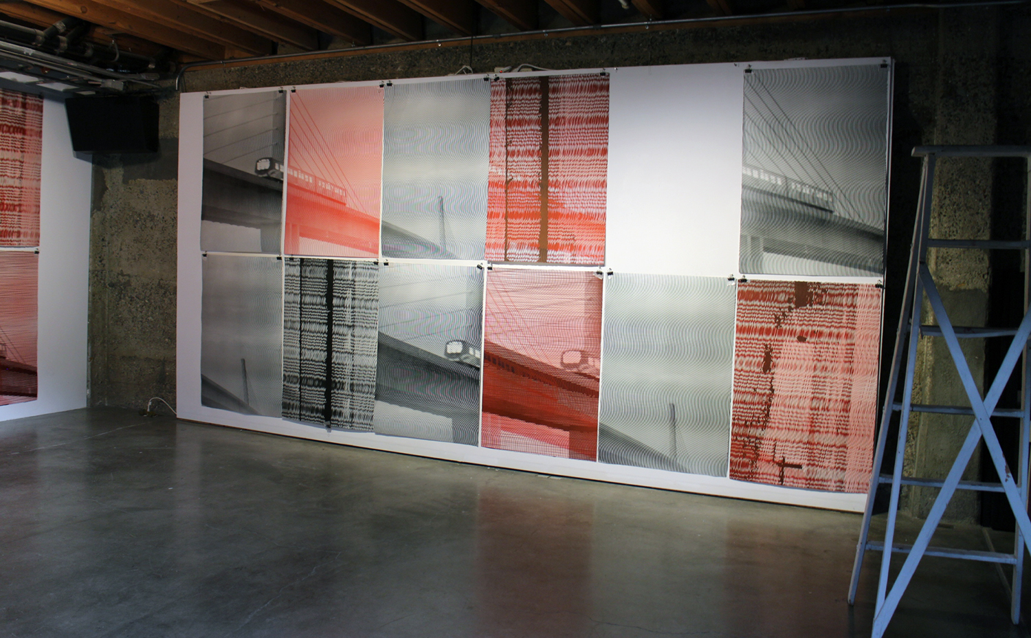 Howe and McCarthy, 2015, installation variation in studio including unique moire prints