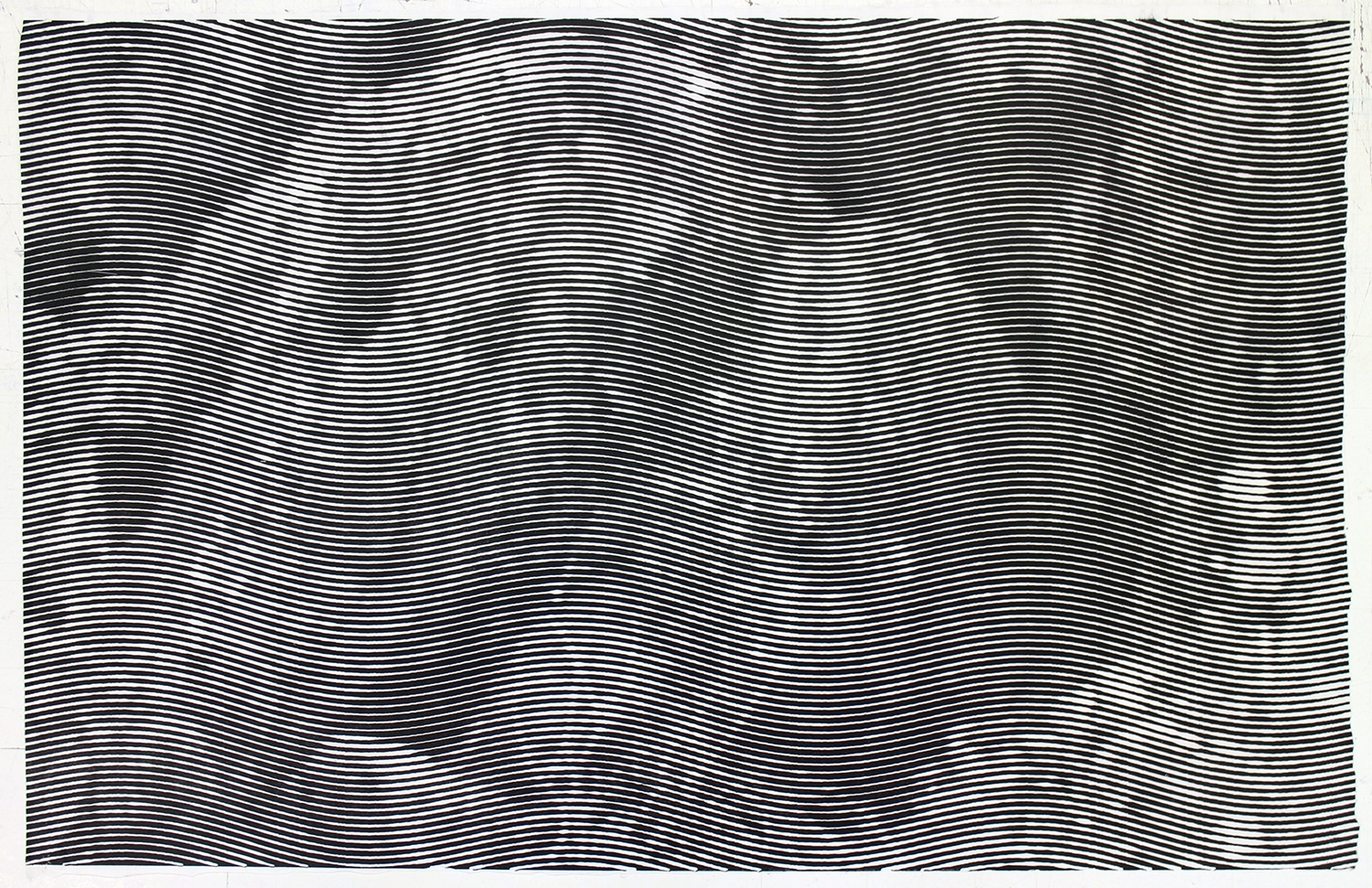 "Rocks (Putah Creek) 3.  Howe and McCarthy,2014. Woodcut on Sekishu. 24""x39""."