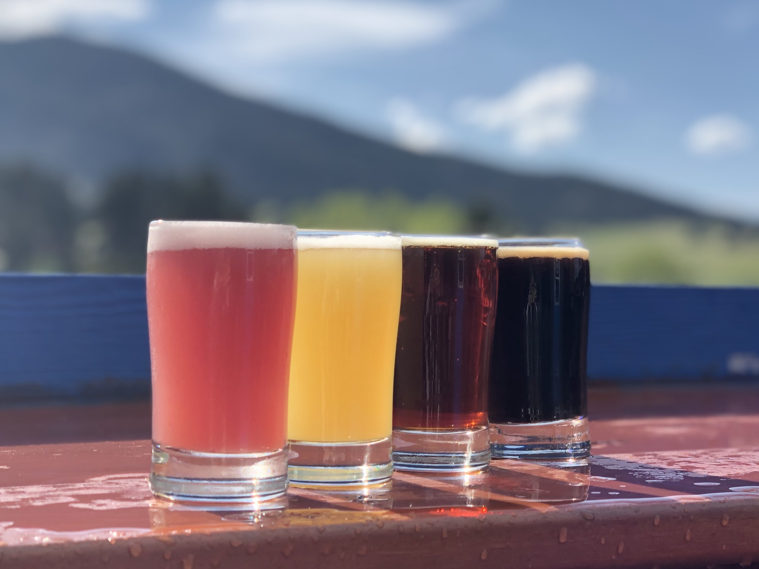 A colorful beer flight at Evergreen Brewery. ©Suzanne Brown 2019