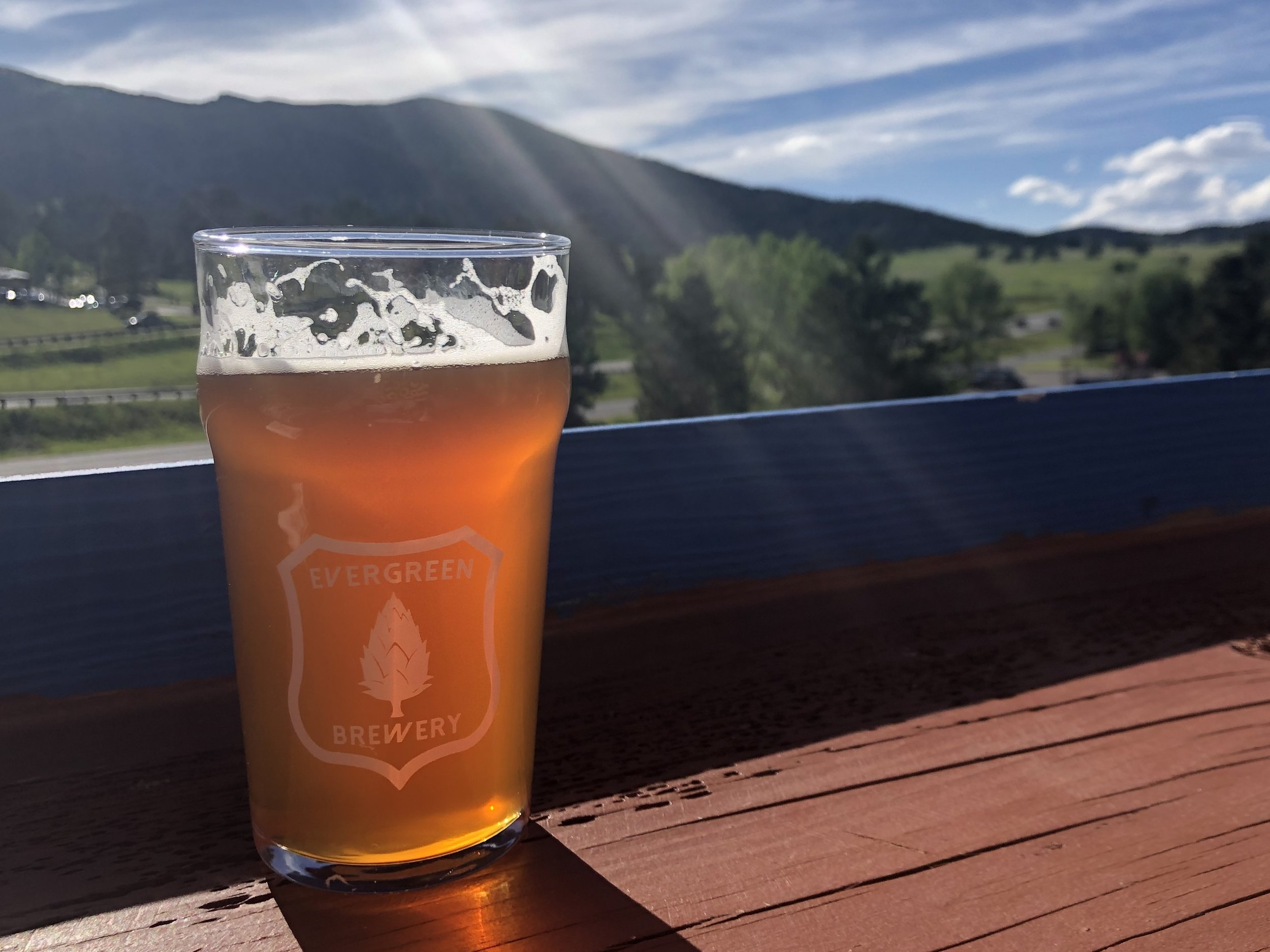 Spectacular views of Bergen Peak from Evergreen Brewery's deck. ©Suzanne Brown 2019