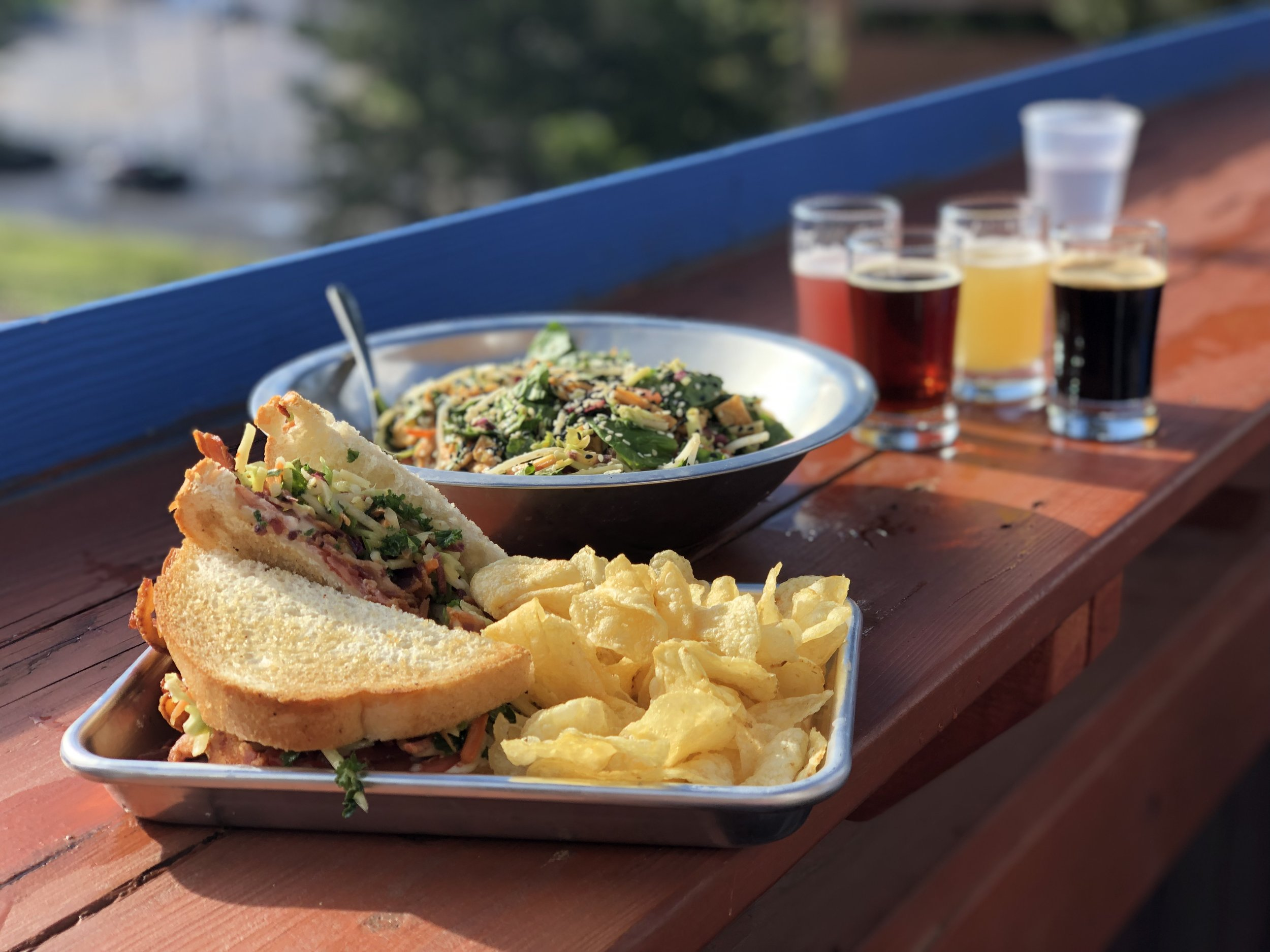 Evergreen Brewery's fabulous BLT with summer slaw and Thai crunch salad. ©Suzanne Brown 2019