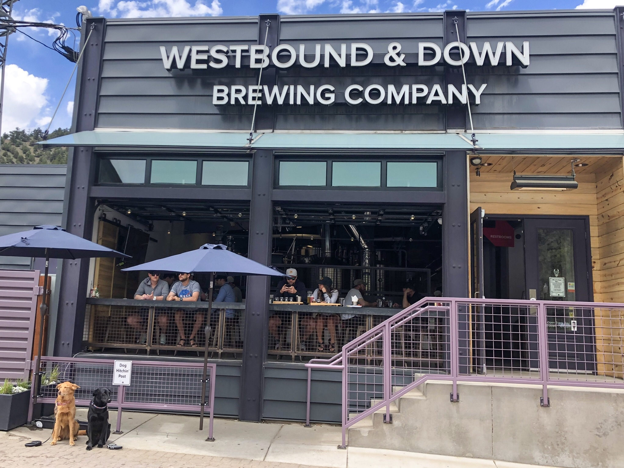 Westbound & Down Brewing Company has dog hitchin' posts for your furry friends. ©Suzanne Brown 2019