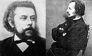 Modest Mussorgsky (left); Victor Hartman (right)