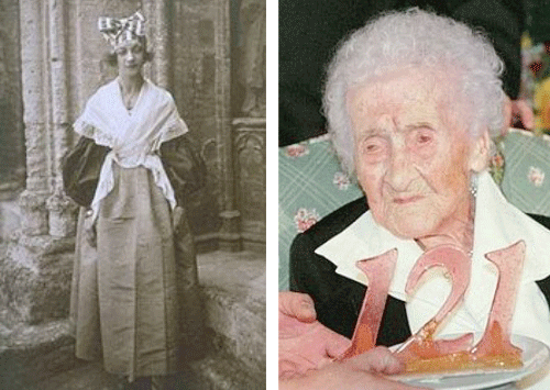 The oldest human was Jeanne Louise Calment.  She was born on 21 February 1875 in Arles, France. She died 4 August 1997 (122years, 164days )