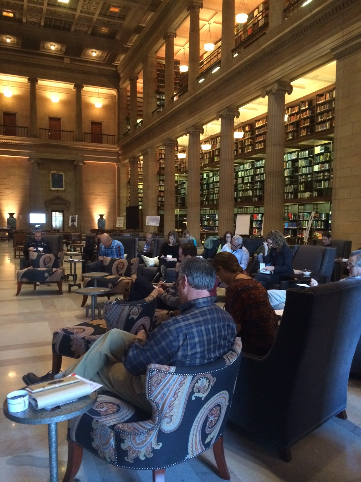 Here's Cohort D, trying to think up things that'll scare me. Side note: How stunning is the James J. Hill Library?