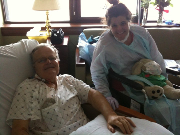 Liz & Mick, seeing each other for the first time after surgery.