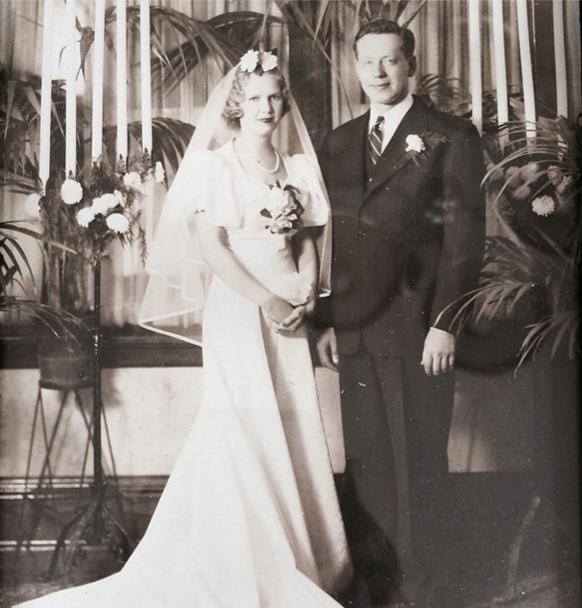 Dorothy Marie Jensen on the day she married Arnie Stromberg in 1939.