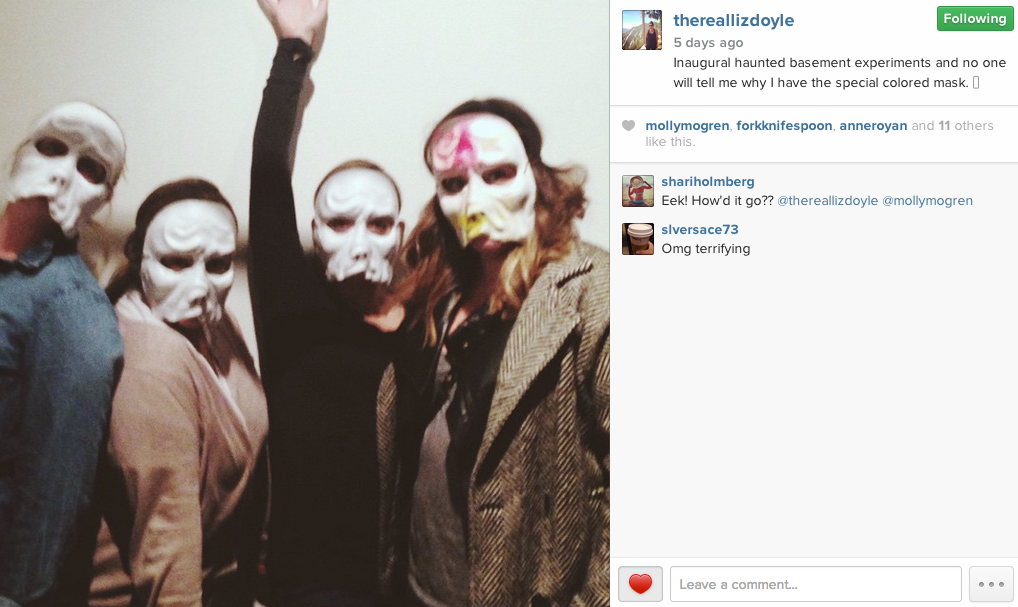 Us four ladies with our official Haunted Basement masks.
