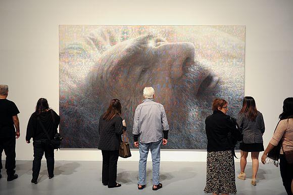 """Portrait of My Father"" (1972-1979) by Stephen J. Kaltenbach, ""Under the Big Black Sun: California Art 1974-1981,"" at The Geffen Contemporary at MOCA. (Photo Credit:Michael Owen Baker)"
