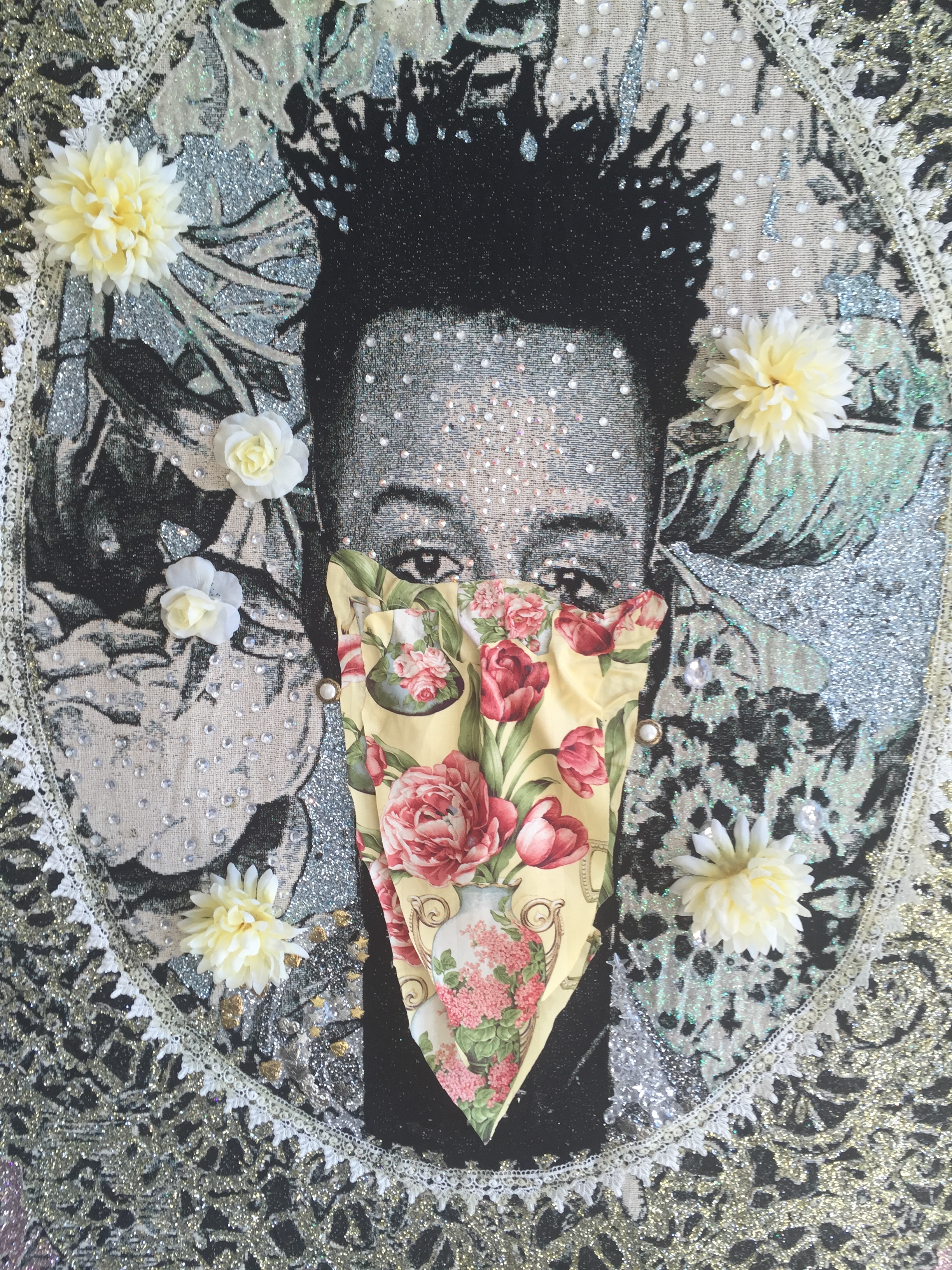 """Ebony Patterson (Jamaican)  Detail of  Untitled, from the """"of 72″ Series , 2011 Mixed media tapestry"""