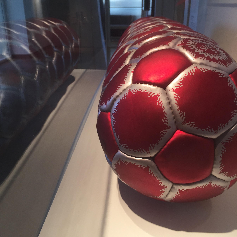 Felipe Barbosa (Brazilian)  Detail of  Pill Ball  , 2011   Soccer Balls