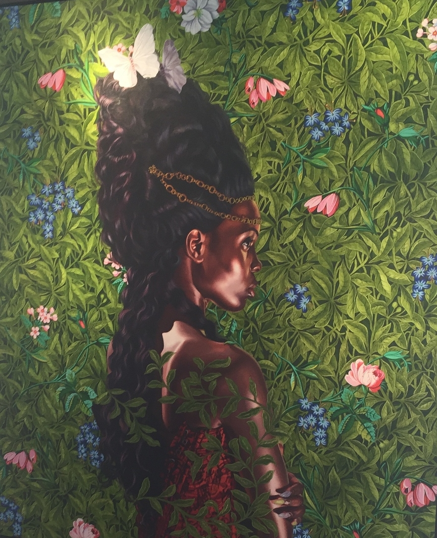 Kehinde Wiley (American)  Detail of  Portrait of Bintou Fall  , 2014   Oil on linen