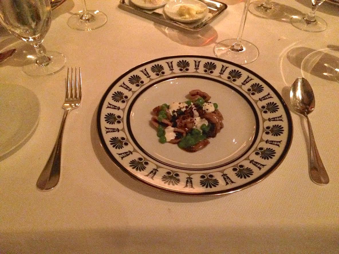 Orecchiette in lamb neck ragu gets drizzled with minted pea puree and creme fraiche.
