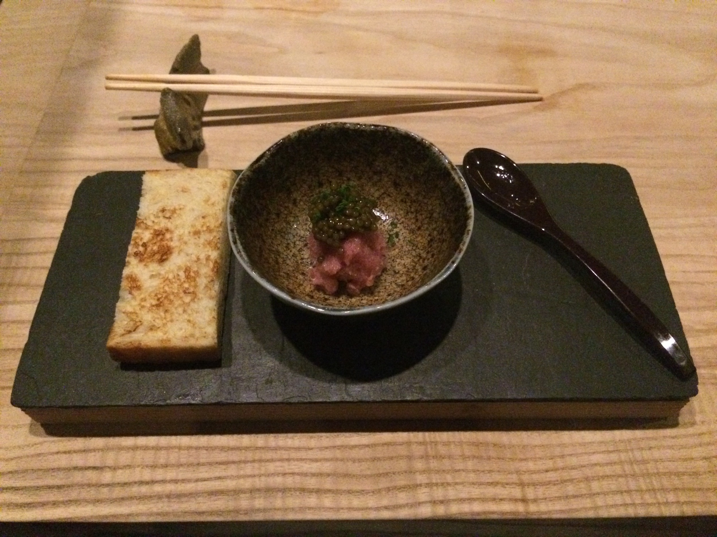 Milk Bread, Toro, and Caviar has become one of the most highly praised dishes on Shuko's Kaiseki menu.