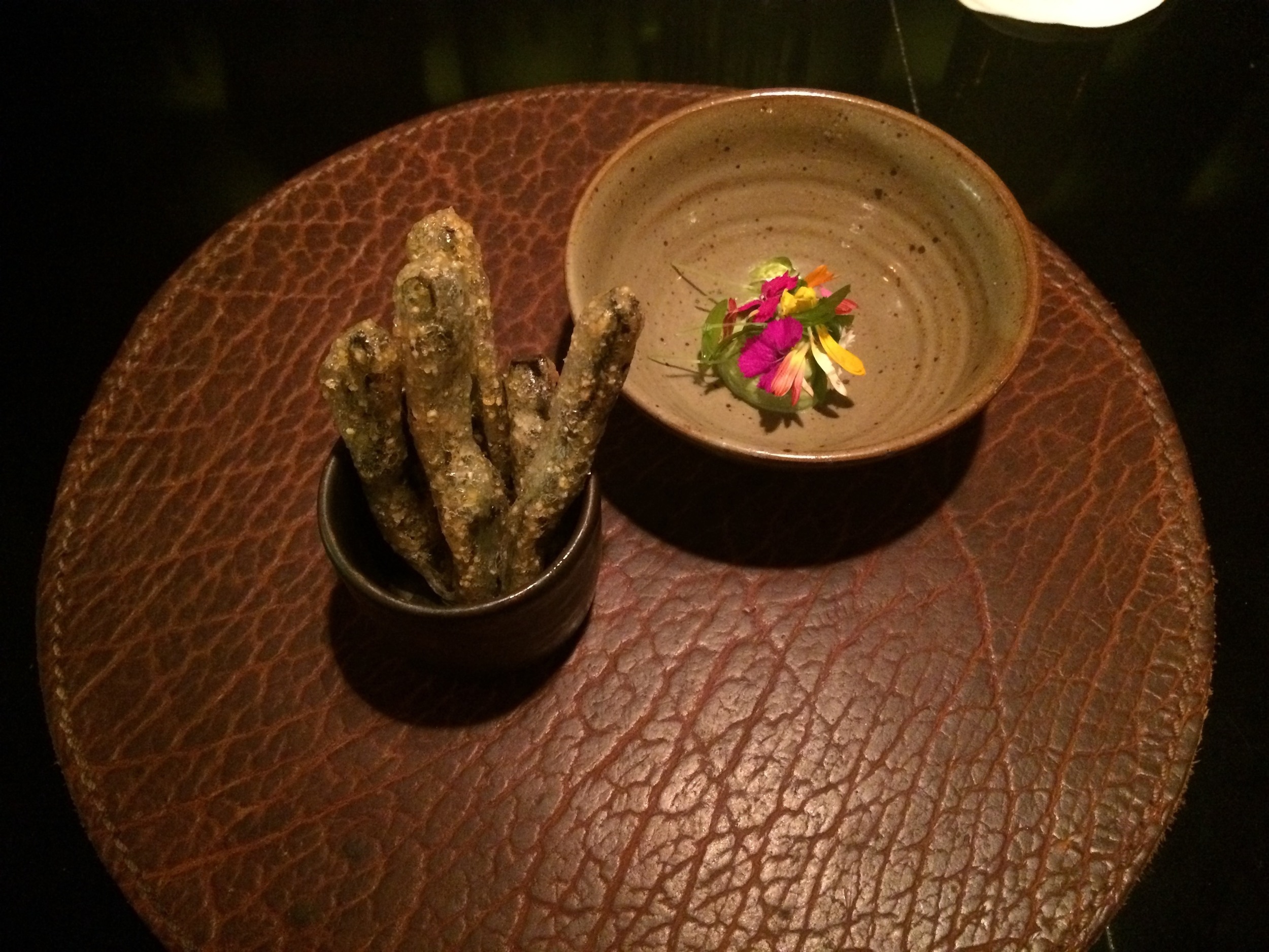 Fried pickles with a cactus and poblano pepper dip were a perfect bar snack.