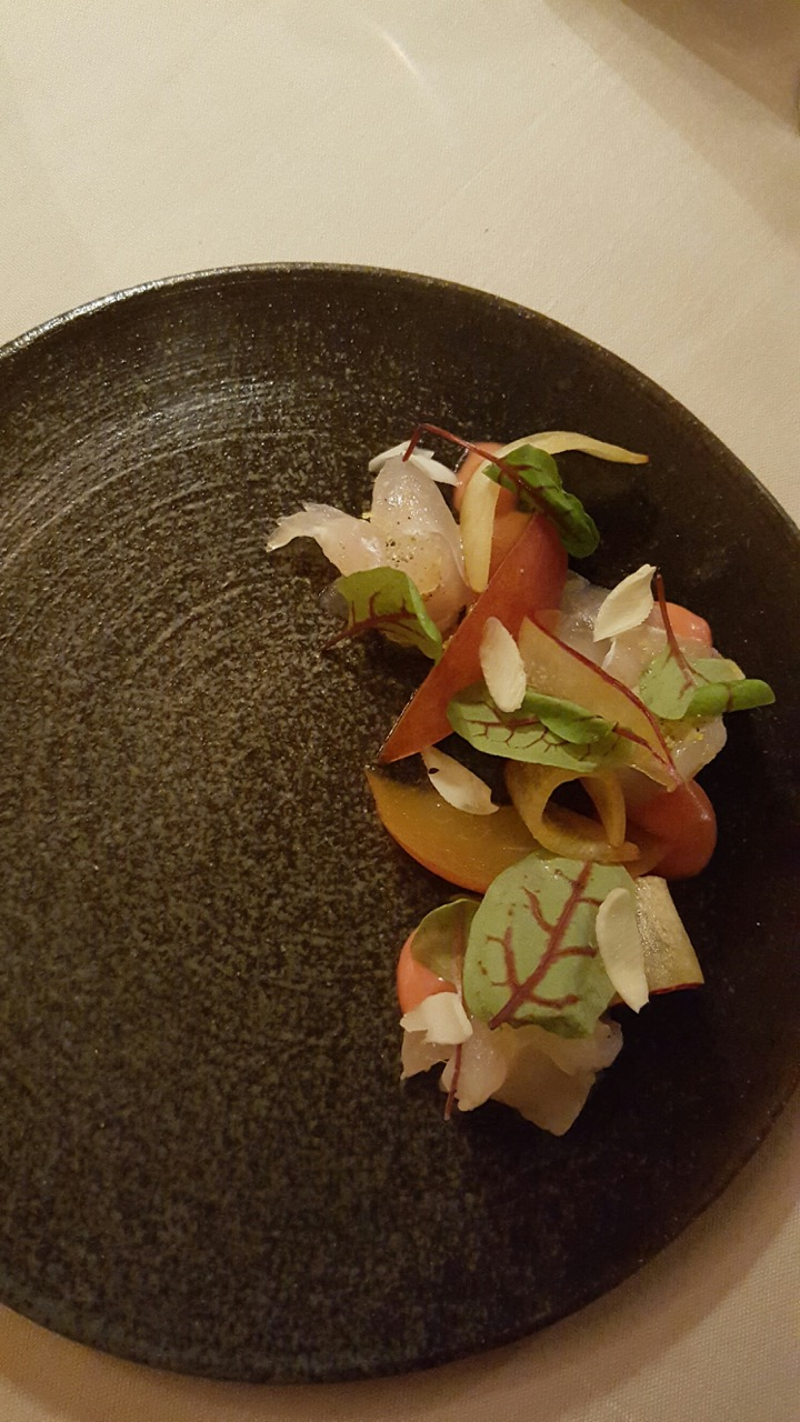 Cured snapper was refreshingly light and filled with summer flavor with fresh and pickled peaches and shaved almond.