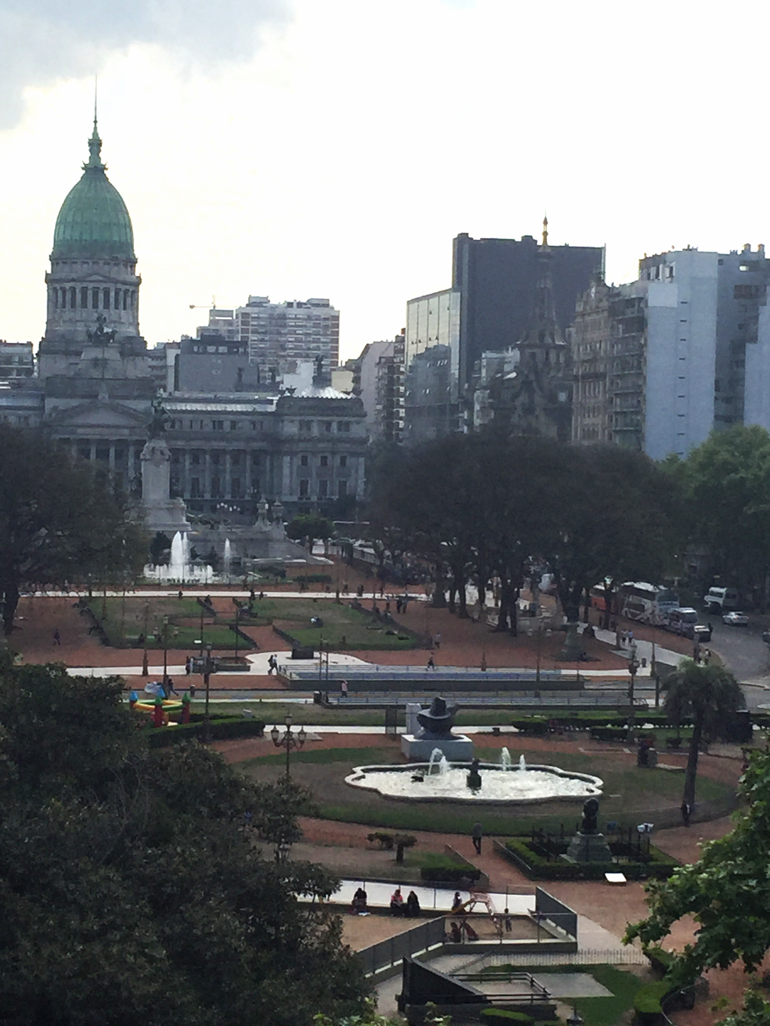 A view across Congreso Plaza from the balcony of Ignacio Liprandi Contemporary Art Gallery