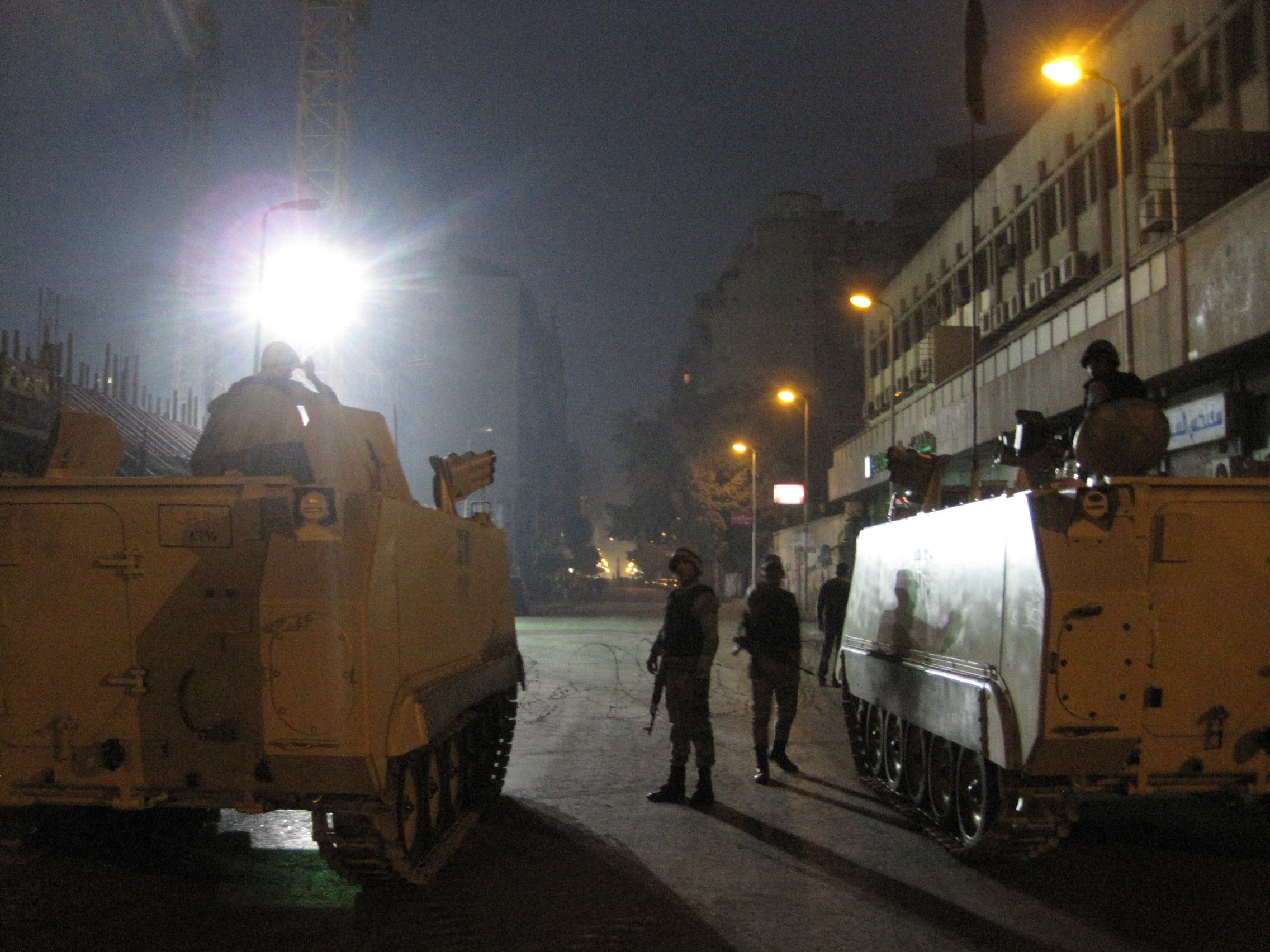 Tanks and soldiers blocking off Tahrir Square, Downtown Cairo.
