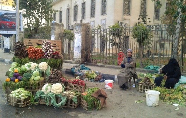 Vegetable vendors with tasty food.