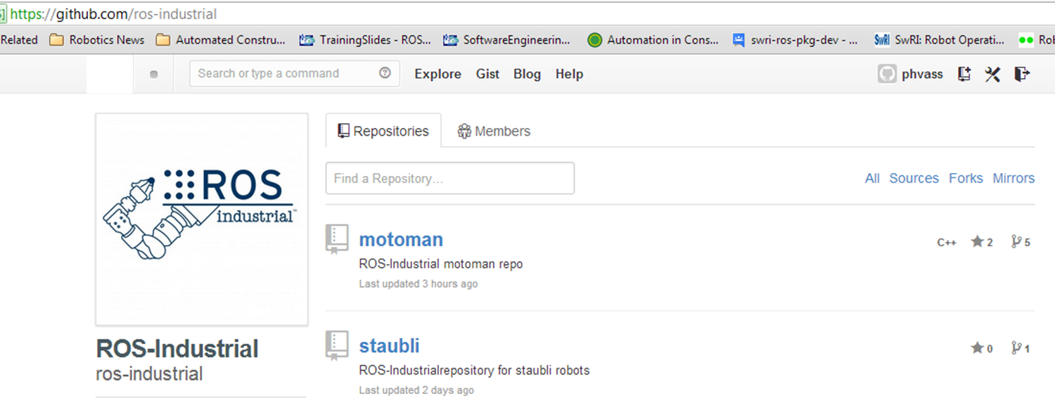 ROS-Industrial GitHub Repository