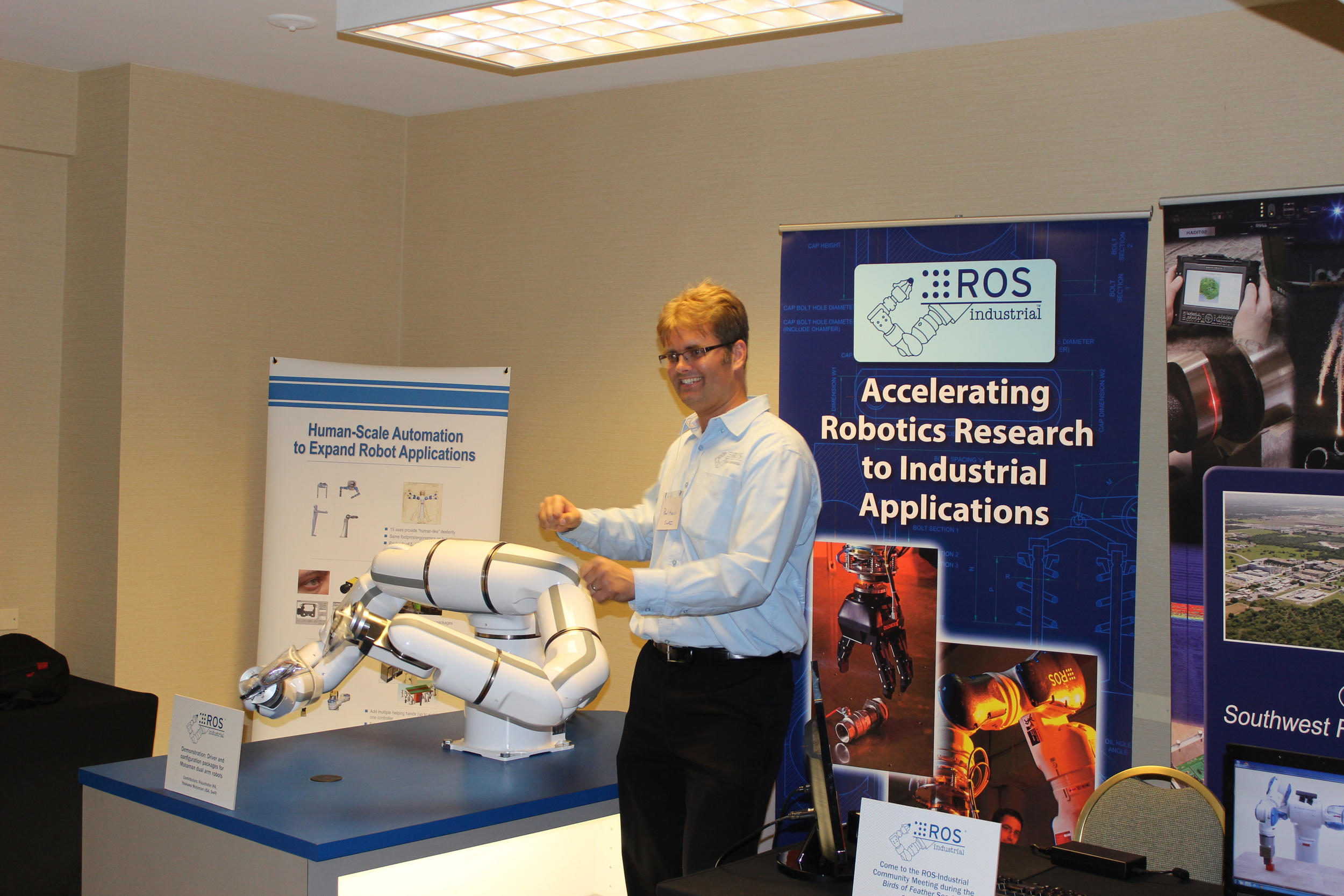 """Paul Hvass (SWRI/ ROS-Industrial Consortium PM) """"running"""" with the BMDA3"""