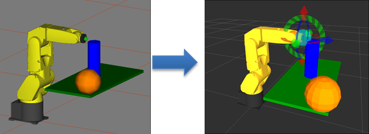 EXAMPLE CAD DATA (LEFT IMAGE) IS CONVERTED TO A URDF, WHICH IS SHOWN IN RVIZ (RIGHT IMAGE)