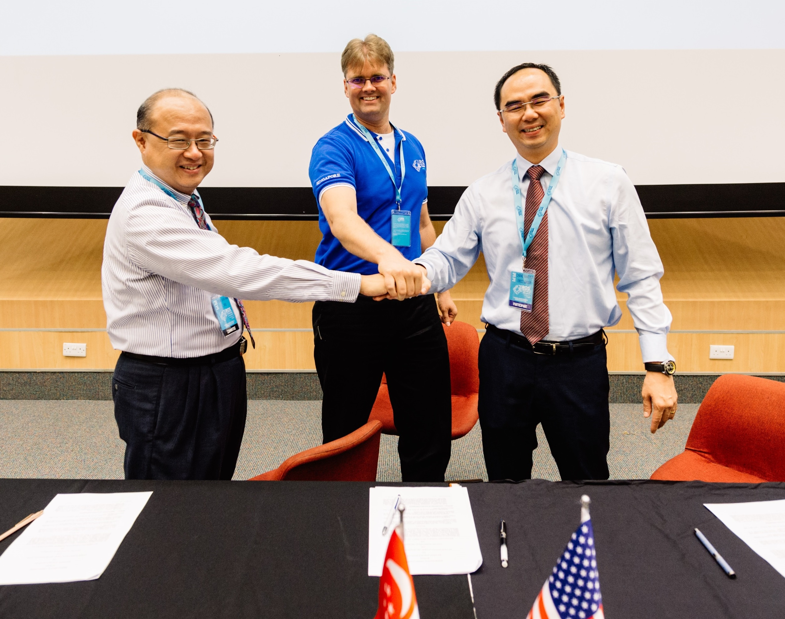 MOU Signing ceremony represented (from left): Prof Chen I-Ming (NTU-MAE), Paul Hvass (SWRI), Dr. DavidLow (CEO, ARTC)